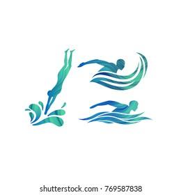 Vector Silhouettes of Swimmers. Minimalist Design Concept for Swimming Pools Logo, Competitions Icon and Symbol for Swim School.