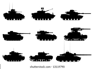Vector silhouettes of tanks.