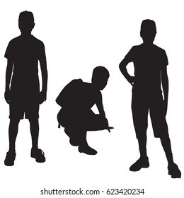 Vector silhouettes of a teenager in different poses, standing and sitting, black color, isolated on white background