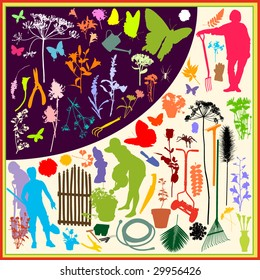 """Vector silhouettes with the theme """"In the Garden""""For more silhouettes, see my files #26799640, #13963618, #13360948, #13360951, #14051254, #19737103, #29956426"""