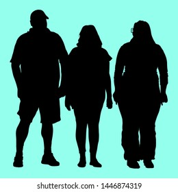Vector silhouettes of three full people of different proportions in sportswear on vacation. A woman in sunglasses, a man in a baseball cap.