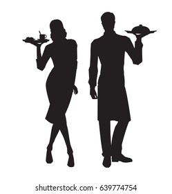 Vector silhouettes of waiter and waitress on white background