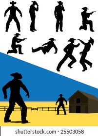 Vector silhouettes of western cowboys in action.