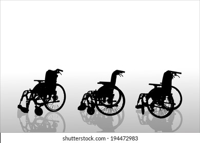 Vector silhouettes of wheelchair on a white background.