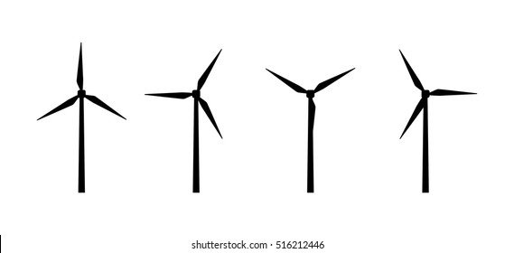 Vector silhouettes of wind turbines