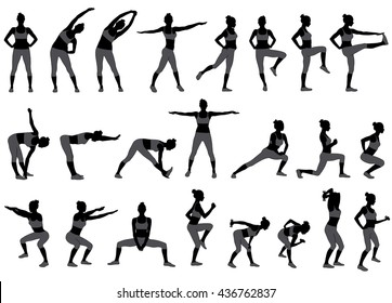 Vector silhouettes of woman doing sport workout in standing position. Training girl icons. Black silhouette of slim woman body in gray t-shirt and pants.