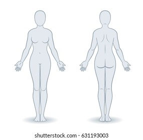 Vector silhouettes of woman front and back view