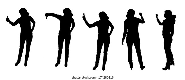 vector Silhouettes of woman on a white background