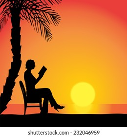 Vector silhouettes of woman sitting at sunset.