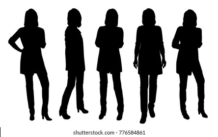 Vector silhouettes of woman standing, different poses, people, group women,  black color, isolated on white background