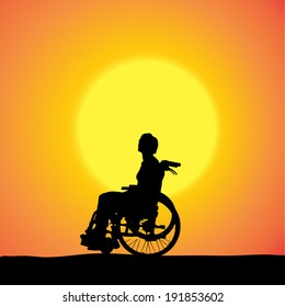 Vector silhouettes of woman in a wheelchair at sunset.