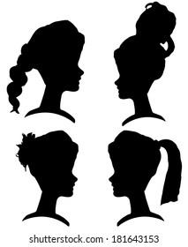 Vector silhouettes of women with different hairstyles.