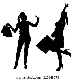 Vector silhouettes of women going shopping on white background.