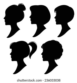 Vector silhouettes of women hairstyles 1.