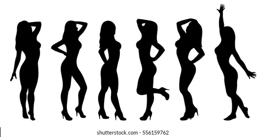 Vector silhouettes of women isolated on a white background.