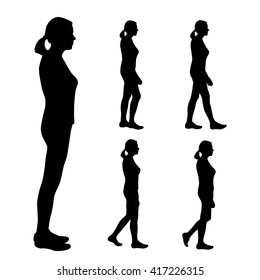 Vector silhouettes of women on a white background. Set of five silhouettes of a girl with a tail of hair. Profile of a girl or woman who goes leisurely. Silhouette of  man who stands straight. Walking