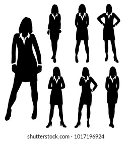 Vector silhouettes women standing, business people, group,  black color, isolated on white background