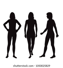 Vector silhouettes of women standing and walking, group people, three figures,  black color, isolated on white background