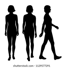 Vector silhouettes women standing and walking, different poses, profile, people, group,  black color, isolated on white background