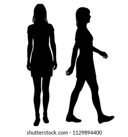 Vector silhouettes women standing and walking, different poses, profile, people,  black color, isolated on white background
