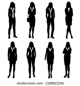 Vector silhouettes women standing and walking, business lady, different poses, profile, people, group,  black color, isolated on white background