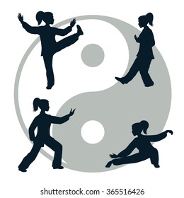 Vector silhouettes of yang woman performs a few forms of Tai Chi
