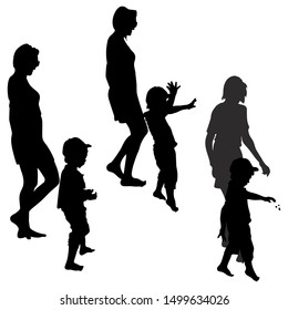 Vector silhouettes of a young woman and a little boy, a child throwing stones in three variants.
