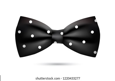 Vector silk black bowtie in polka dots. Isolated on white background.