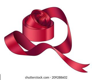 vector silk ribbon roll. Red ribbon
