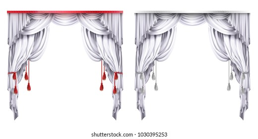 Vector silk, velvet drapes with red or white tassels. Theatrical curtain with folds. Decoration element for performance, premiere. Elegant blinders. Great concept for presentation. Drapery background