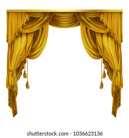 Vector silk, velvet theatrical curtain with folds, drape. Decoration element for performance, premiere. Golden elegant blinders. Great concept for presentation, announcement, show. Drapery background