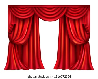 Vector silk, velvet theatrical curtain with folds isolated on white background. Decoration element for performance, premiere. Red elegant blinders. Great concept for presentation, announcement, show.