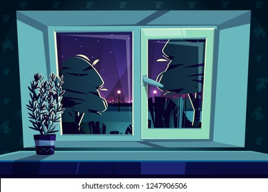 Vector sill rail with a plastic window at night, rosemary on a windowsill. Green plant for the home garden, kailyard. Plastic frame with glass, star background. Empty dark room wallpaper.