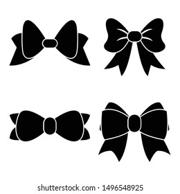 Vector sillouettes,Set of graphical decorative bows, flat design isolated on white background,bow  for business and design. Design elements