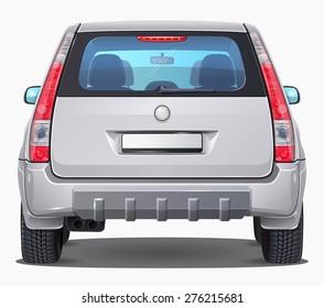 Vector silver Car - Back view - Visible interior version