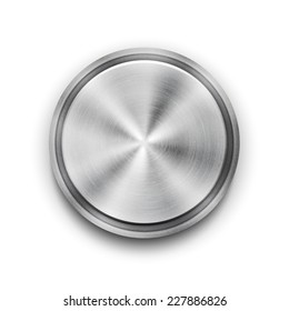 Vector silver circular metal textured button with a concentric circle texture pattern and metallic sheen  overhead view vector illustration