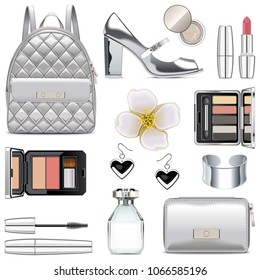 Vector Silver Fashion Accessories isolated on white background