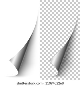 Vector silver foil vertical paper corner rolled up with soft shadow on white and transparent background. 3D page corner curled. Realistic design element.