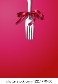 Vector silver fork with red ribbon bow. Festive dinner, breakfast of holiday celebration cutlery. Realistic cafe menu tableware for christmas, valentines day or birthday decoration