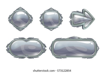 Vector silver game assets set. Metal buttons, arrow, banners, panels for GUI design. Isolated on white.