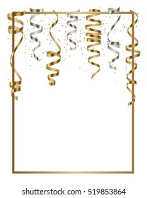 Vector silver and gold serpentine, ribbon with silver and gold dust confetti isolated on white background. Christmas card for party, holiday design, decor. Vector illustration.