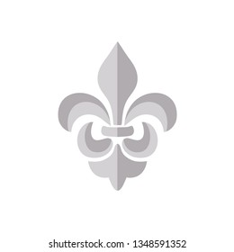 Vector silver grey Fleur de lis ornament icon on white background. Royal heraldic symbol. Vector illustration