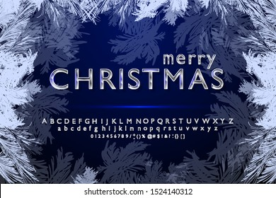 Vector silver handwritten Christmas font alphabet with the symbol of a hashtag. Beautiful font style font for Christmas and New year design. Font for logo signs, gift cards, hashtags.