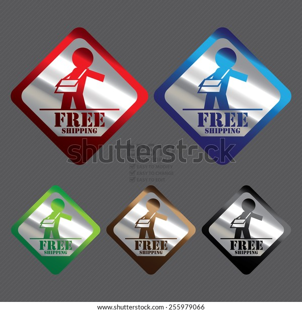 Vector : Silver Metallic Rhombus Free Shipping Icon, Label, Banner, Tag or Sticker