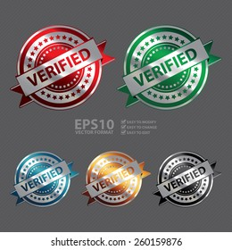 Vector : Silver Metallic Verified Ribbon, Badge, Icon, Sticker, Banner, Tag, Sign or Label