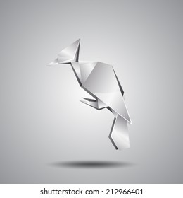 vector silver origami woodpecker