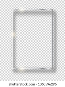 Vector silver shiny vintage square frame isolated on transparent background. Luxury glowing realistic border
