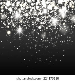 Vector silver sparkle glitter background. Sparkling flow background.