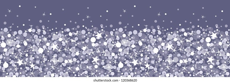 Vector silver sparkles horizontal seamless pattern background with glittering texture.