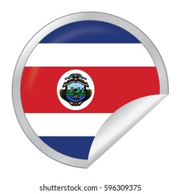 Vector Silver Sticker with Map and Flag of the Costa Rica. Vector EPS 10 illustration isolated on white background.